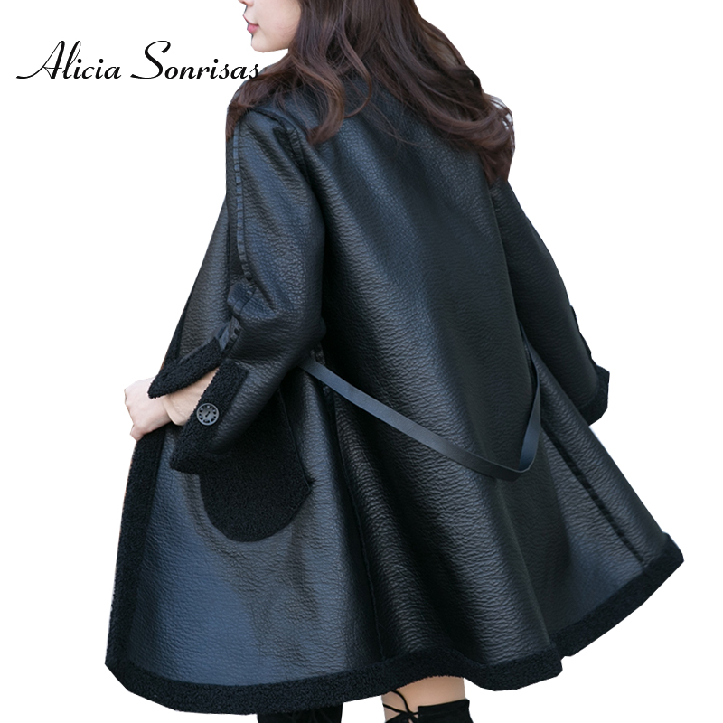 2019 Women   Leather   Jacket New Double Face Use Autumn Winter Parkas Black White Long Faux Sheepskin Coats Jackets BE086