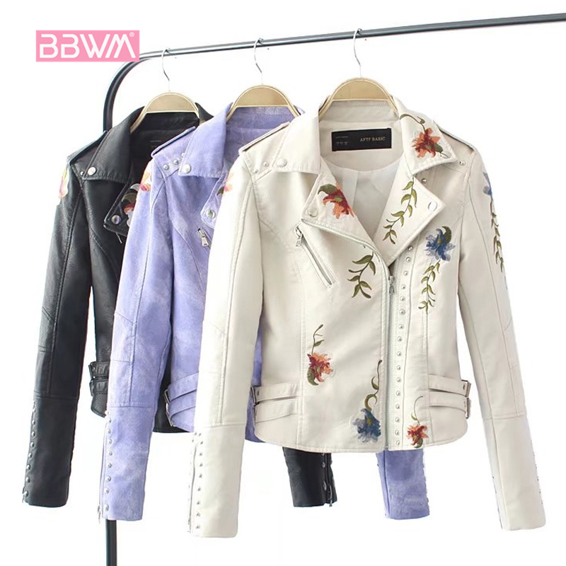 Embroidered Rivet Leather Female 2018 Spring New Short Slim Self-cultivation Motorcycle Jacket Wild Thin Embroidery Women's Coat