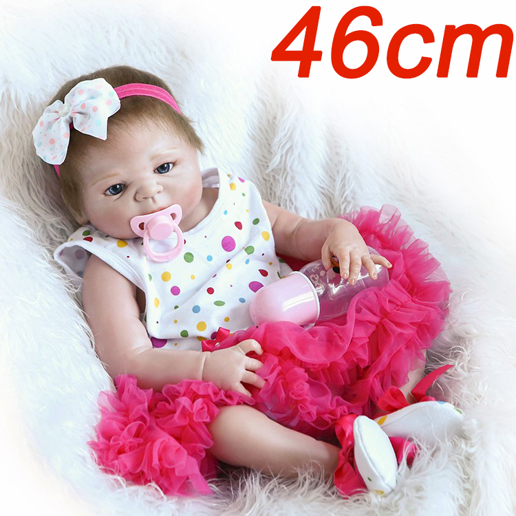 46CM Full Silicone Baby Doll Handmade super quality Reborn Babies Lifelike Girl Body For Kids Christmas or Birthday Xmas Gift 46CM Full Silicone Baby Doll Handmade super quality Reborn Babies Lifelike Girl Body For Kids Christmas or Birthday Xmas Gift