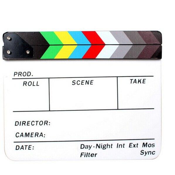 TOP Générique Acrylique Coloré Clap TV Film Film Slate Cut Rôle Jouer Prop Hollywood