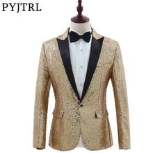PYJTRL Marque Mens De Mode Or Argent Paillettes Blazers Conception DJ  Chanteurs Costume Slim Fit Manteau c83dc28f654