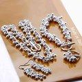 925 Sterling Silver Jewelry Set Silver uva Summer ball, pulsera del collar de plata gancho del pendiente del anillo S330