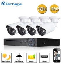 Techage 4CH 1080 P AHD DVR Система ВИДЕОНАБЛЮДЕНИЯ 4 ШТ. 2400TVL 2.0MP P2P Водонепроницаемый Открытый Крытый Камеры Безопасности Видеонаблюдения комплект
