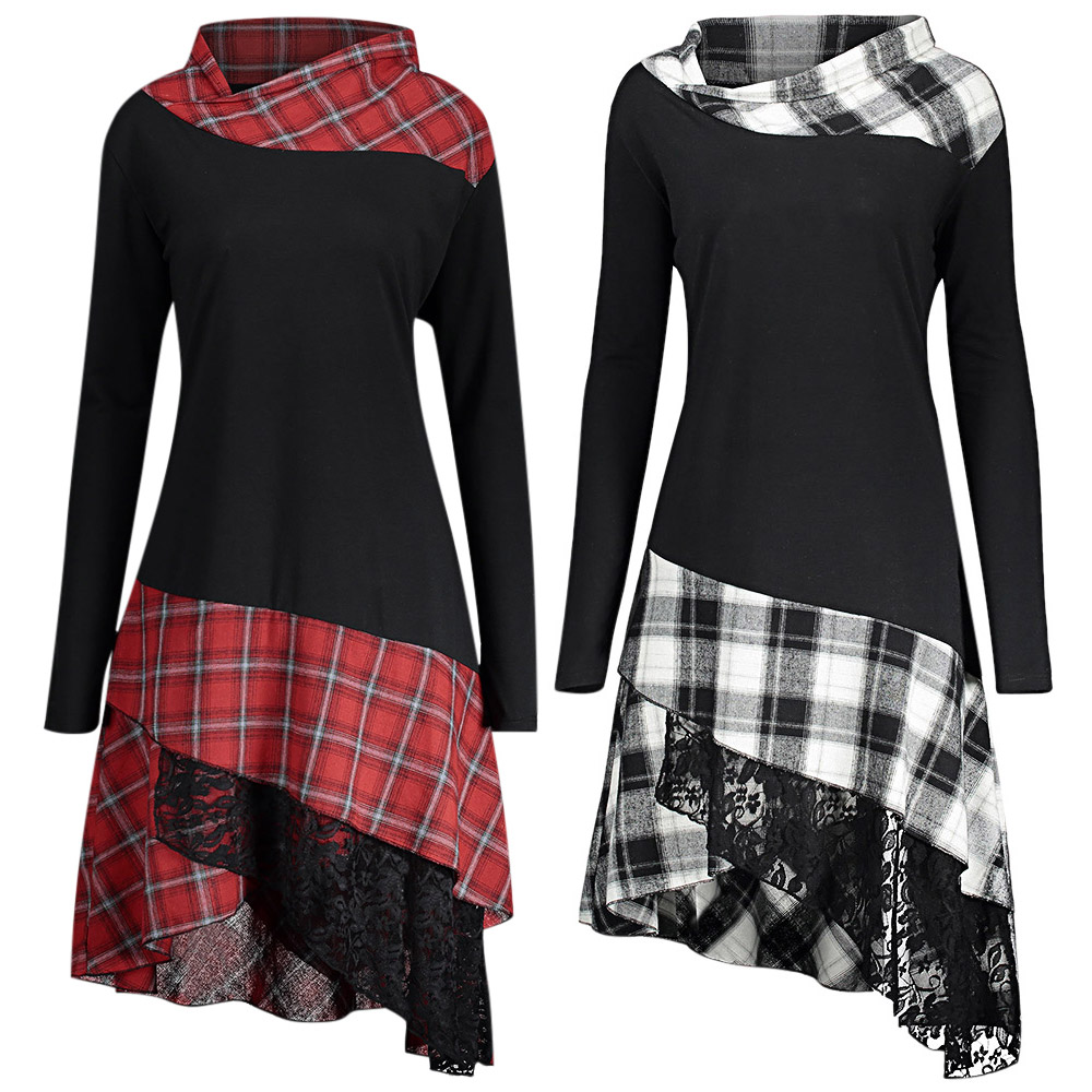 Rosegal plus size xadrez emendado renda vestido feminino casual em linha reta gola vestido de manga longa feminino vestido de outono 2018