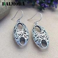 BALMORA Vintage Silver Earrings Authentic 990 Pure Silver Retro Elegant Drop Earrings For Women Lover Gift