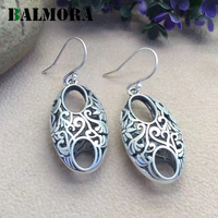 BALMORA Vintage Silver Earrings Authentic 990 Pure Silver Retro Elegant Drop Earrings for Women Lover Gift Jewelry SY31560