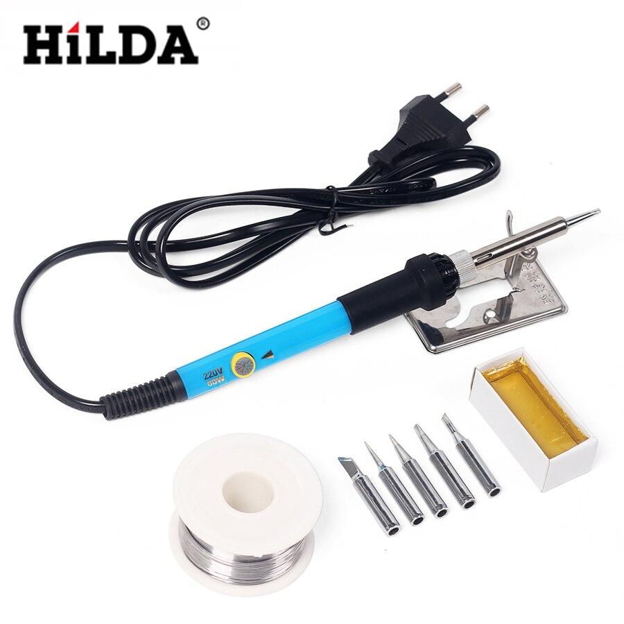 HILDA 110 V/220 V 60 W Maniglia di Riparazione Strumento Temperatura Regolabile Elettrico Saldatore Set + 5 Pz consigli Pinzetta Solder Wire