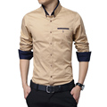2016 New Fashion Brand Men Shirt Slim Fit Long Sleeve Business Mens Dress Shirts Cotton Casual Shirt Social Camisa Masculina 5XL