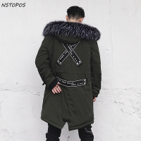Fur Collar Parka Men Long Men Winter Coat 2017 Fashion Designer Men Winter Parka Black Army
