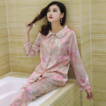 Fashion Pink Print Silk Pajama Sets Home Suit Women's Two Pieces Pyjama Pants Set Nightwear Nightdress Indoor Clothing Sleepwear