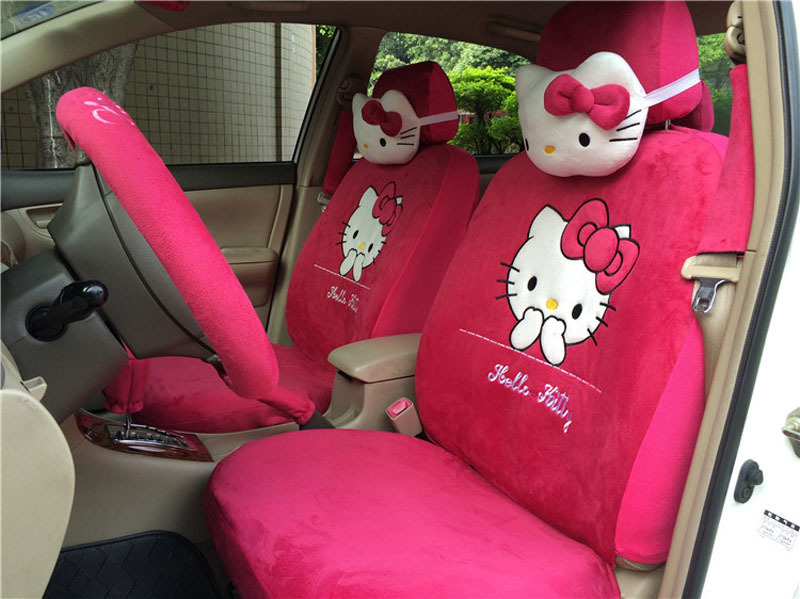 Hello Kitty 18pc Universal Car Front Seat Cover Full Sets Lovely Cartoon Mats Hand Brake Belt Covers In Automobiles From
