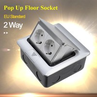 EU Standard Aluminum Silver Panel 2 Way Floor Socket Electrical Outlet Available Sockets new