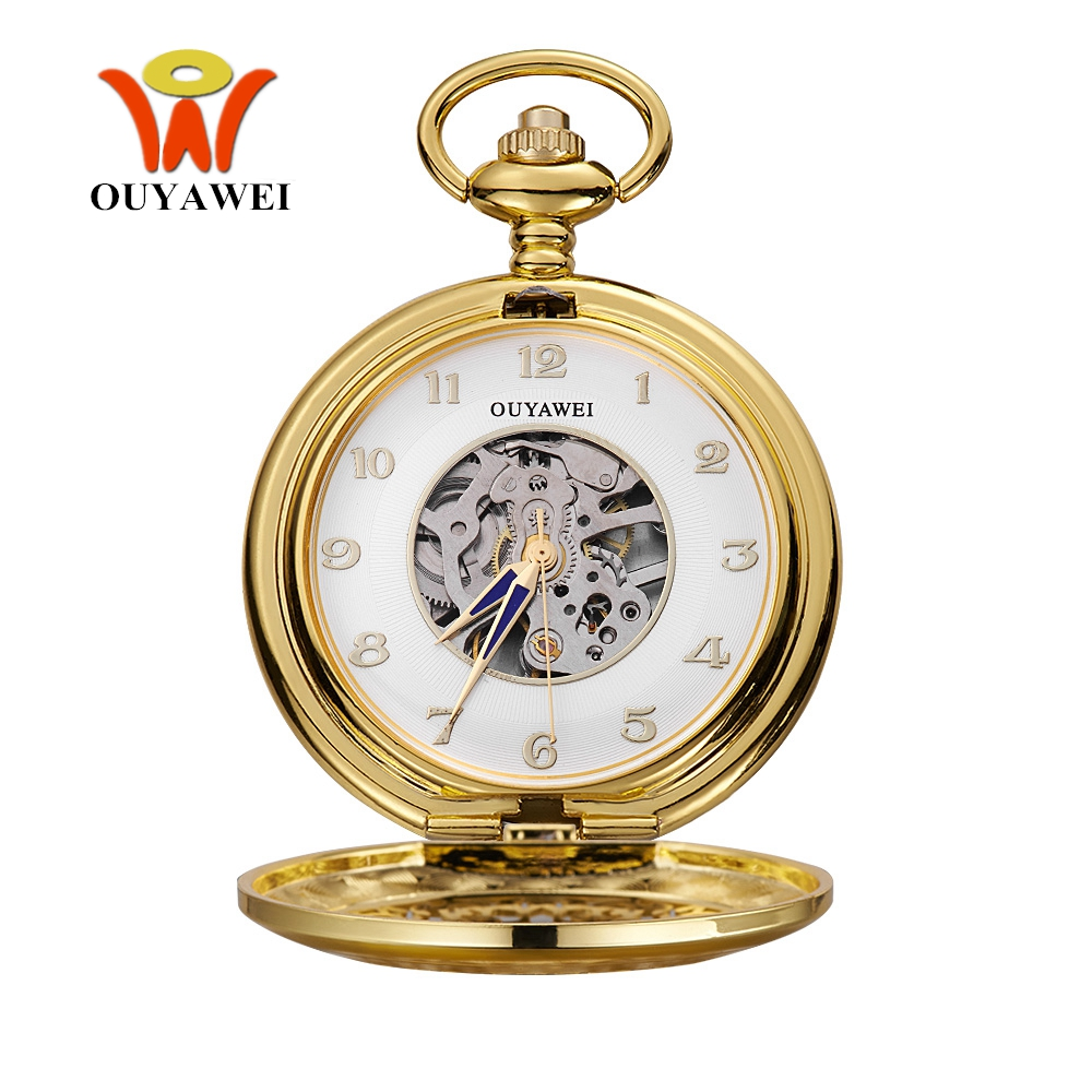 Mens pocket watches with chain images mens gold pocket watches gifts - New Oyw Hand Winding Mechanical Luxury Gold Men Pocket Watch Vintage Skeleton Dial Necklace Pendant Male Chain Watches Gifts