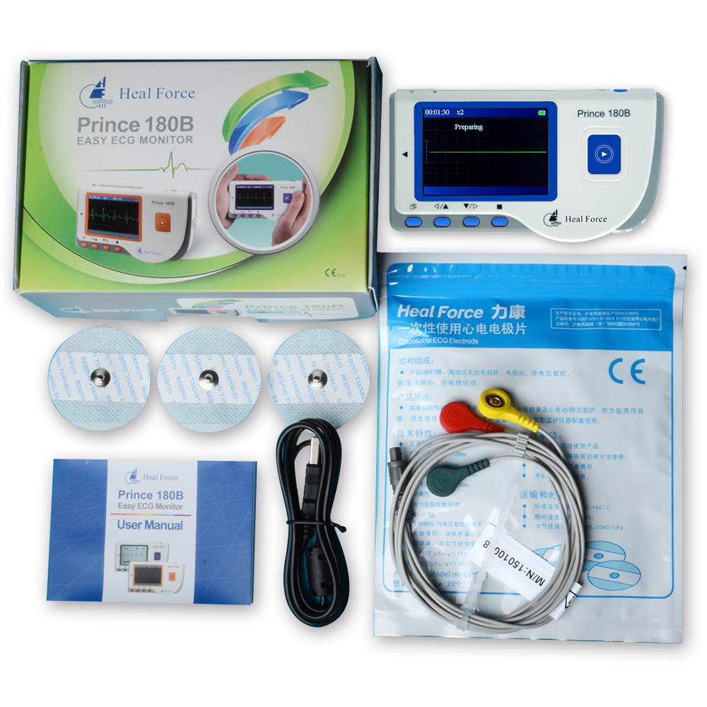 Heal Force Prince 180B Blue Color Portable Heart Ecg Monitor Electrocardiogram Contain ECG Lead Wire & Electrodes Pads