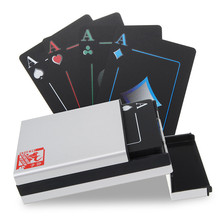 New Black Poker Playing Cards Set PVC Durable Waterproof Deck with Aluminum Box Double Matting Sides Gifts for Poker Lovers
