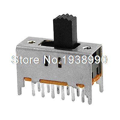 10 Pcs 12 Pin On/On 2 Position 4P2T 4PDT Mini Vertical Slide Switch 0.3A 50V DC image