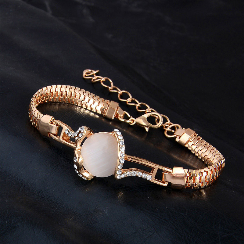 MISANANRYNE  Fashion Jewelry Gold Color Shiny Austrian Crystal Cat Eye Stone New Design Bracelets 6