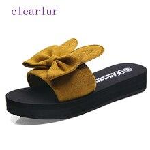 купить Summer hot women's flip-flops fashion solid color bow flat sandals size 35-40 outdoor slippers beach shoes women C0513 по цене 791.29 рублей