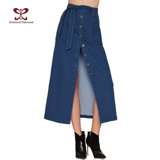 2016 Spring New Women Denim skirts Long Skirt High Waist Jeans Maxi Skirts Saias jeans Longa Feminina Casual Plus Size Skirt 995