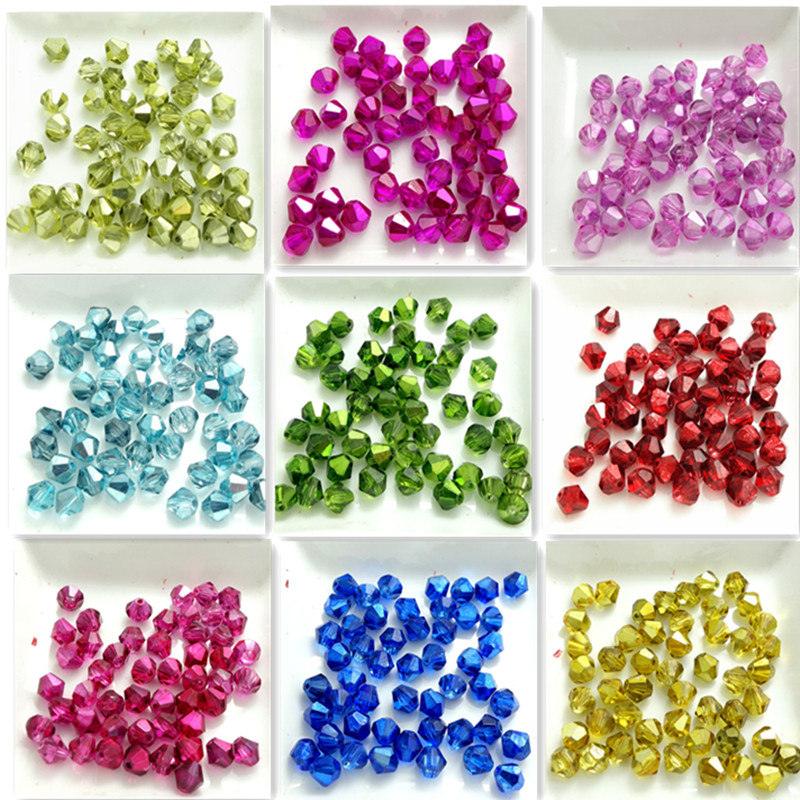 Wholesale 100pcs Faceted Bicone Charms Glass Crystal Loose Spacer Beads 4mm