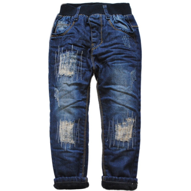 6039 winter boys jeans denim and fleece double deck thick boys pants warm trousers new 2016