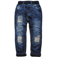 6039 winter boys jeans denim and fleece double-deck thick boys pants  warm trousers new 2016