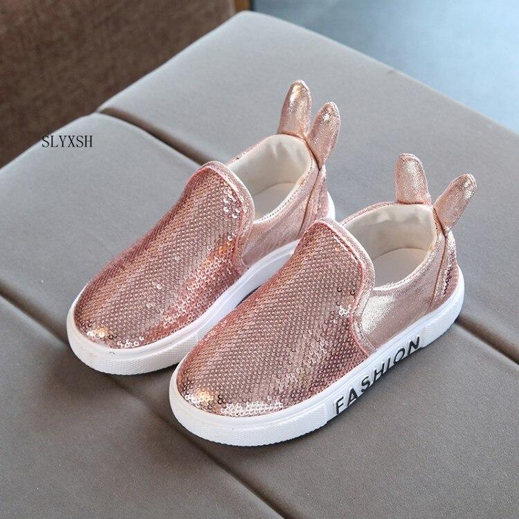 SLYXSH Bambini Sneaker Sequin Dell orecchio di Coniglio Ragazze Ragazzi e  le ragazze Degli Appartamenti 032e9f8a9be