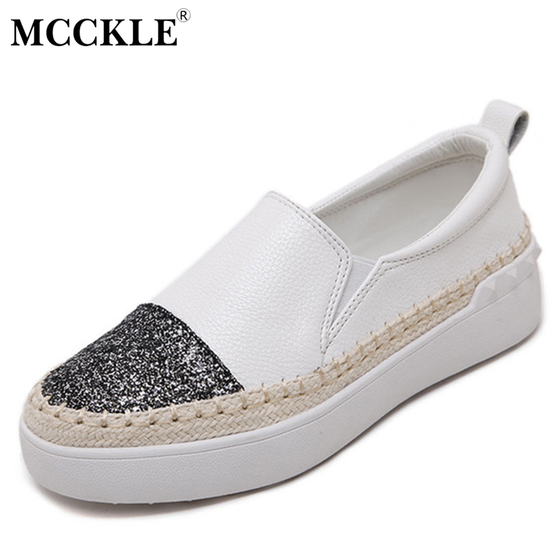 MCCKLE 2017 Women Shoes Woman Loafers Flat Black Platform Casual Comfortable Ladies Slip-on Style New Spring Autumn Shoes mcckle 2017 fashion woman shoes flat women platform round toe lace up ladies office black casual comfortable spring