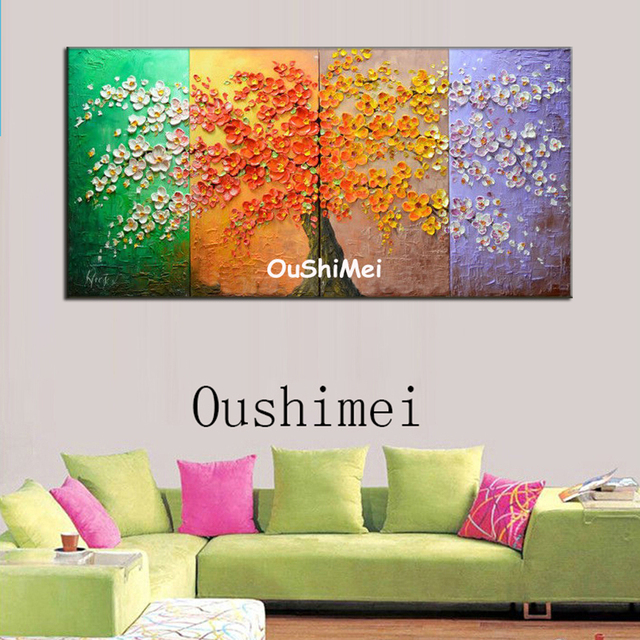 Hand Painted Four Seasons Landscape Oil Painting Picture Modern Wall  Paintings On Canvas Pictures For Decor - Hand Painted Four Seasons Landscape Oil Painting Picture Modern Wall