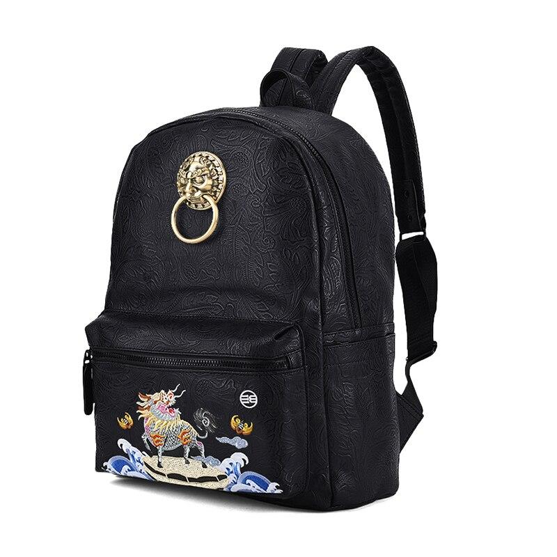 Bête Dieu Lion Broderie Style Feu Hommes Licorne Luxe Marque Daily Noir Tête Mâle Vintage Sacs Dos Bagpack À De Chinois PS7pnBB