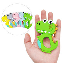 Safe Baby Teether BPA Free Cute Animal Dinosaur Infant DIY Ring Teether Toddler Silicone Chew Charms Kids Teething Necklace Toys(China)