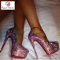 Original Intention Stylish Pumps Platform Women Glitter Super High Heels Round Toe Pumps Shoes Woman Ladies Party Large Size 20