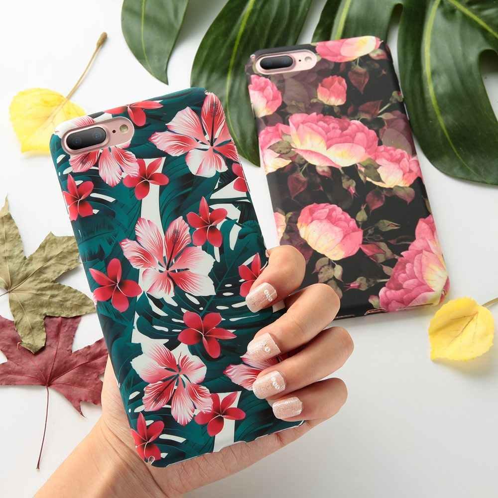 BEIJOS folhas Capa Samsung Galaxy S9 S8 Plus A7 2018 A9 2018 A5 2017 J5 2017 J8 2017 Borda caso flor S7 J8 Plus 2018 Capa