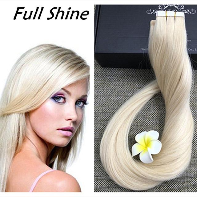 Full shine platinum blonde brazilian remy hair tape in human hair full shine platinum blonde brazilian remy hair tape in human hair extensions long for women blonde pmusecretfo Images