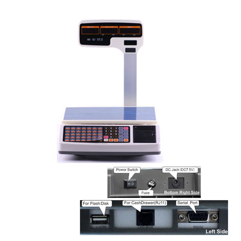 weighing scale support thermal receipt printing with RJ11 port quality cash drawer together special for pos cash register system 15 inch android all in one pos system dual screen touch cash register and 80mm thermal printer and 410mm pos cash drawer