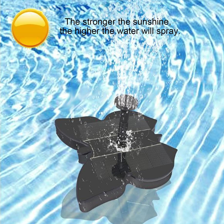 Behogar Solar Powered Miniatur Brunnen Wasserpumpe für Vogel Bad Aquarium Fischteich Aquarium Pool Garten Hof Dekoration Schmetterling