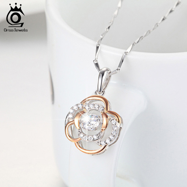 ORSA Jewels 925 Stirling Silver Flower Pendant/Necklace With 0.3ct Shiny Cubic Zirconia Mixed Rose Gold Colour Necklaces. SN12