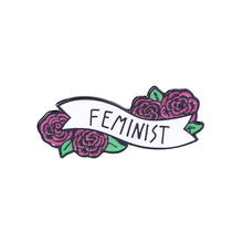 Feminist enamel pin banner with flowers brooches women art badge girl power gift Brooch and Pin Cartoon Lapel Button Badges