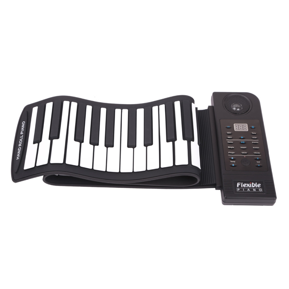 Portable Flexible Digital Keyboard Piano 61 Keys 128 Tones 128 Rhythms Electronic Roll Up Piano Children Toys Built-in Speaker