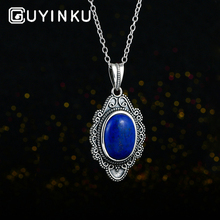GUYINKU Vintage Oval Natural Dark Blue Lapis Necklace & Pendants For Women Party Anniversary Gift Fine Jewelry With Chain