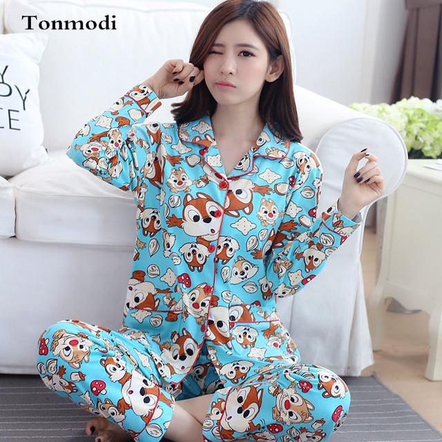 Del Otoño Del resorte Conjuntos de Pijama Mujeres Solapa de Manga Larga Mujer Ropa Para Mujer del Camisón de Dormir Pijamas Niñas ropa Para El Hogar