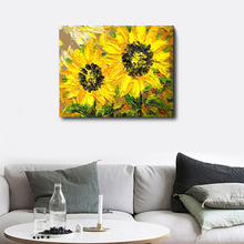 Laeacco Canvas Calligraphy Painting Watercolor Graffiti Sunflowers Poster Wall Art Picture Living Room Bedroom Home Decoration