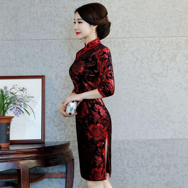 Chinese Traditional Costume Mature Women Tighten Dresses ...