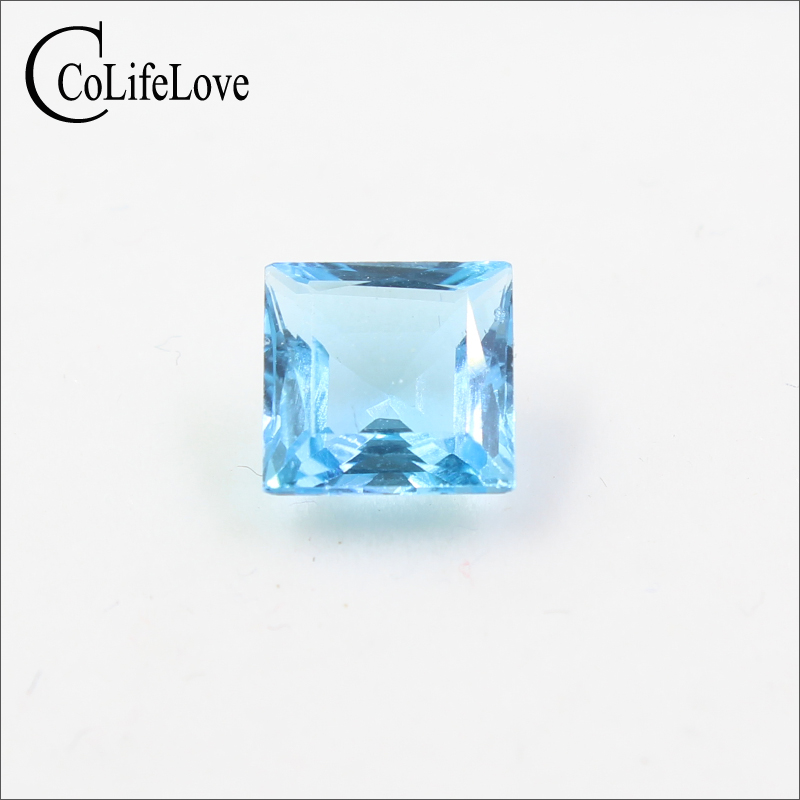 VVS grade natural topaz gemstone 8 mm * 8 mm princess cut light blue topaz loose gemstone original cutter 05075 8 mm dia cut