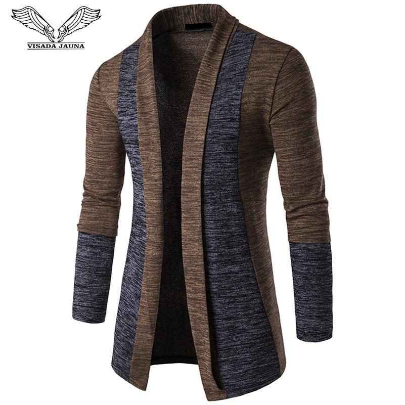 VISADA JAUNA 2018 Social Cotton Men Sweaters Casual Crochet Splice Knitted Sweater Men Cardigan Fashion Masculino Clothing Coat