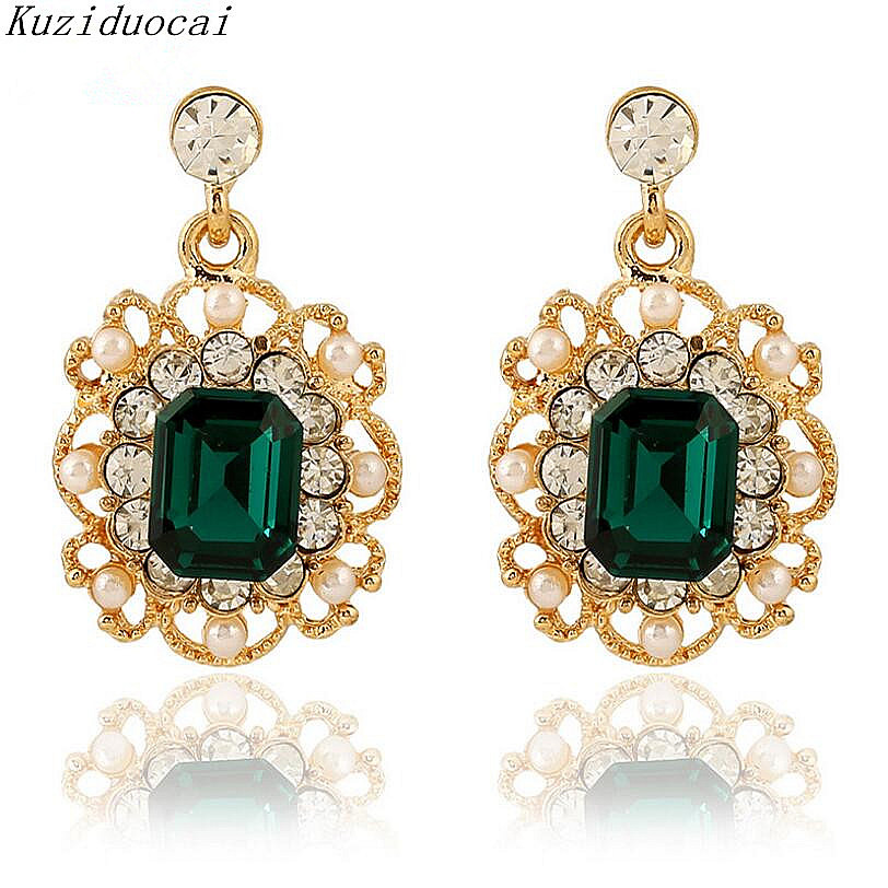 Kuziduocai New ! Fashion Fine Jewelry Pearl Rhinestone Zircon Openwork lacework Square Elegant Stud Earrings For Women Gift E-76