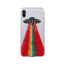 Space UFO Rainbow Glitter phone case For iphone 6 6s 7 8 Plus Bling soft silicone case for iphone X XS Max XR case back cover