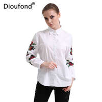 Dioufond Rose Embroidery Blouse Shirt Women Long Sleeve Pearls Button Down Floral Blouses White Navy Ladies
