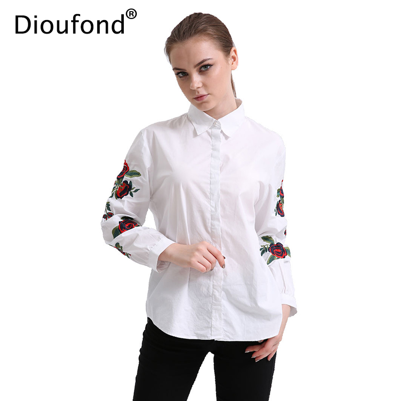 Dioufond rose embroidery blouse shirt women long sleeve for Womens white button down shirt