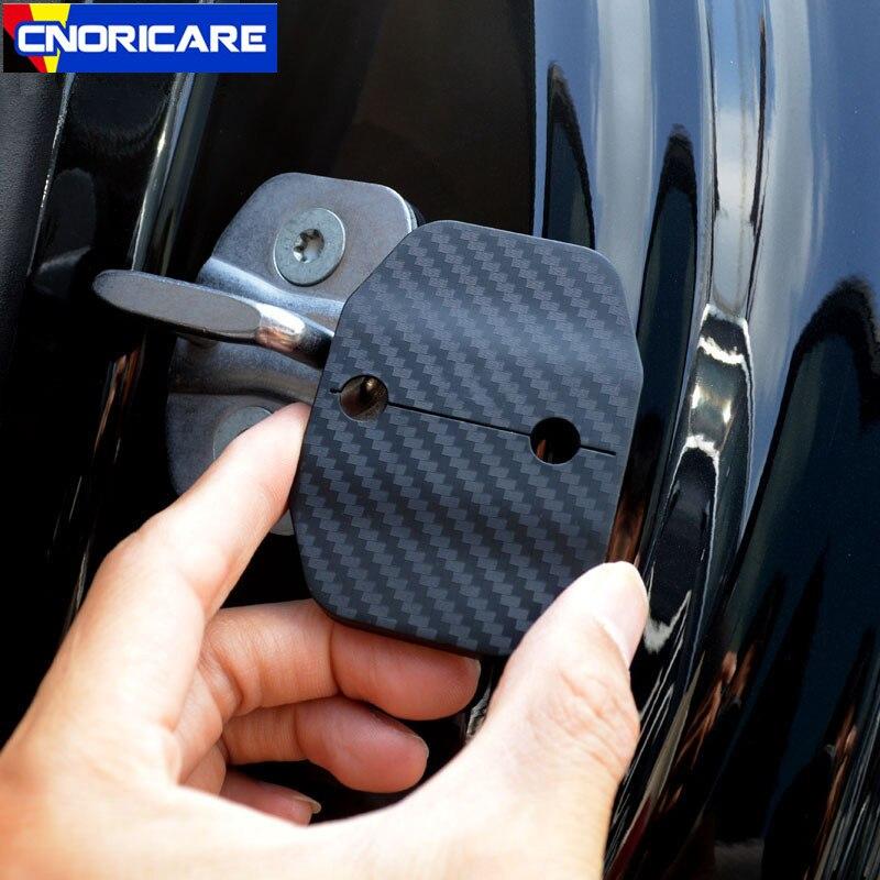 Tampa de bloqueio da porta do carro capa proteção à prova dwaterproof água caso 4 pces para mercedes benz classe e w213 2016-17 cor da fibra de carbono